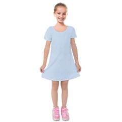 Pastel Color   Light Azureish Gray Kids  Short Sleeve Velvet Dress