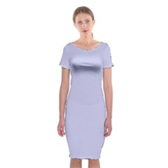 Pastel Color   Light Bluish Gray Classic Short Sleeve Midi Dress
