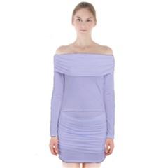 Pastel Color   Light Bluish Gray Long Sleeve Off Shoulder Dress