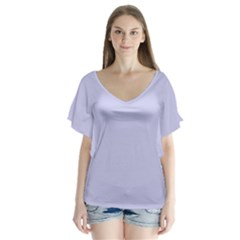 Pastel Color   Light Bluish Gray Flutter Sleeve Top