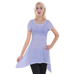 Pastel Color   Light Bluish Gray Short Sleeve Side Drop Tunic