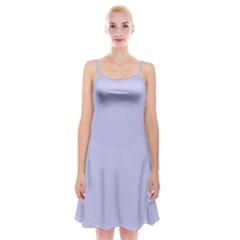 Pastel Color   Light Bluish Gray Spaghetti Strap Velvet Dress