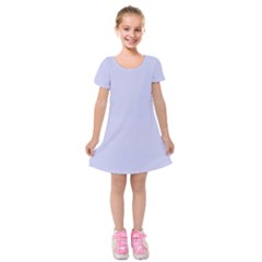 Pastel Color   Light Bluish Gray Kids  Short Sleeve Velvet Dress