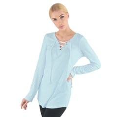 Pastel Color - Light Cyanish Gray Women s Tie Up Tee