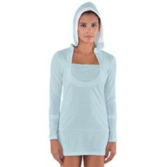 Pastel Color - Light Cyanish Gray Women s Long Sleeve Hooded T-shirt