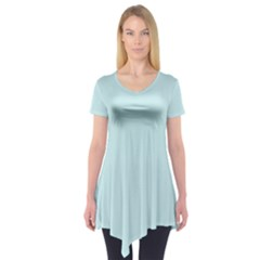 Pastel Color - Light Cyanish Gray Short Sleeve Tunic
