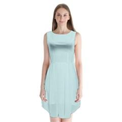 Pastel Color   Light Cyanish Gray Sleeveless Chiffon Dress