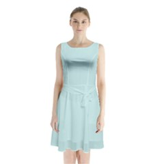 Pastel Color   Light Cyanish Gray Sleeveless Waist Tie Chiffon Dress