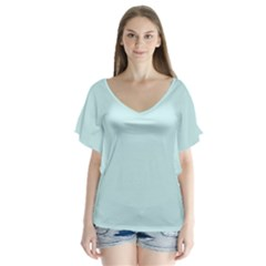 Pastel Color   Light Cyanish Gray Flutter Sleeve Top
