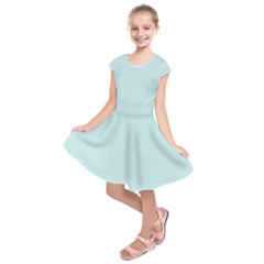 Pastel Color   Light Cyanish Gray Kids  Short Sleeve Dress