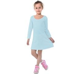 Pastel Color   Light Cyanish Gray Kids  Long Sleeve Velvet Dress