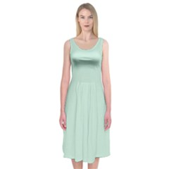 Pastel Color   Light Greenish Gray Midi Sleeveless Dress
