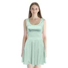 Pastel Color   Light Greenish Gray Split Back Mini Dress