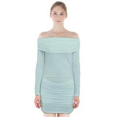 Pastel Color   Light Greenish Gray Long Sleeve Off Shoulder Dress