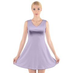 Pastel Color - Light Violetish Gray V-Neck Sleeveless Skater Dress