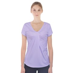 Pastel Color   Light Violetish Gray Short Sleeve Front Detail Top