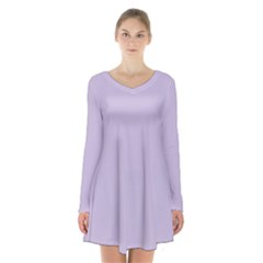 Pastel Color   Light Violetish Gray Long Sleeve Velvet V Neck Dress