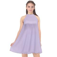Pastel Color   Light Violetish Gray Halter Neckline Chiffon Dress