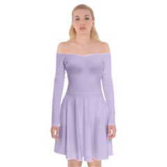 Pastel Color   Light Violetish Gray Off Shoulder Skater Dress