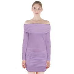Pastel Color   Magentaish Gray Long Sleeve Off Shoulder Dress