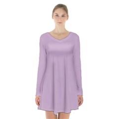 Pastel Color   Magentaish Gray Long Sleeve Velvet V Neck Dress