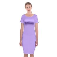 Pastel Color - Pale Blue Violet Classic Short Sleeve Midi Dress