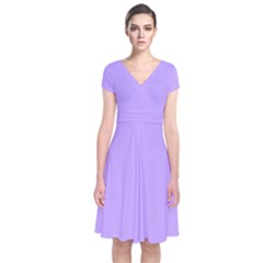 Pastel Color   Pale Blue Violet Short Sleeve Front Wrap Dress