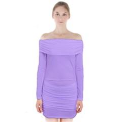 Pastel Color   Pale Blue Violet Long Sleeve Off Shoulder Dress
