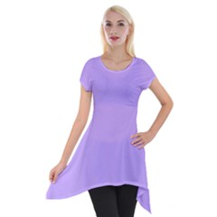 Pastel Color   Pale Blue Violet Short Sleeve Side Drop Tunic