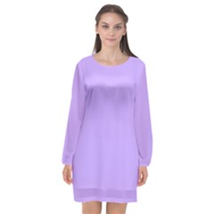 Pastel Color   Pale Blue Violet Long Sleeve Chiffon Shift Dress