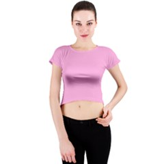 Pastel Color - Pale Cerise Crew Neck Crop Top