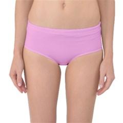 Pastel Color - Pale Cerise Mid-Waist Bikini Bottoms