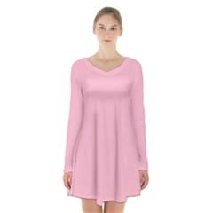 Pastel Color   Pale Crimson Long Sleeve Velvet V Neck Dress