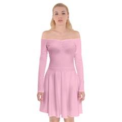 Pastel Color   Pale Crimson Off Shoulder Skater Dress