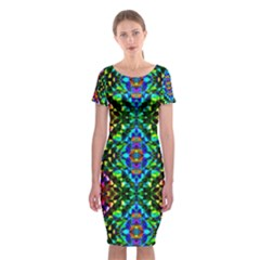 Glittering Kaleidoscope Mosaic Pattern Classic Short Sleeve Midi Dress