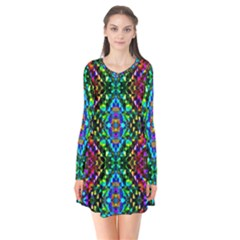 Glittering Kaleidoscope Mosaic Pattern Flare Dress