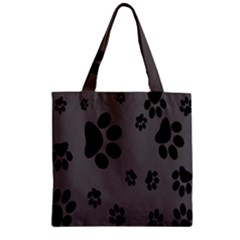 Dog Foodprint Paw Prints Seamless Background And Pattern Zipper Grocery Tote Bag