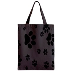 Dog Foodprint Paw Prints Seamless Background And Pattern Zipper Classic Tote Bag
