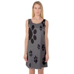 Dog Foodprint Paw Prints Seamless Background And Pattern Sleeveless Satin Nightdress