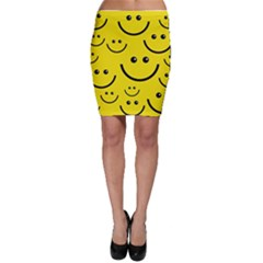 Digitally Created Yellow Happy Smile  Face Wallpaper Bodycon Skirt