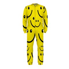 Digitally Created Yellow Happy Smile  Face Wallpaper OnePiece Jumpsuit (Kids)