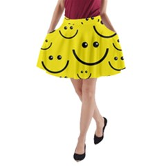 Digitally Created Yellow Happy Smile  Face Wallpaper A-Line Pocket Skirt