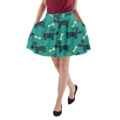 Happy Dogs Animals Pattern A-Line Pocket Skirt