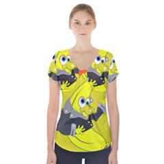 Funny Cartoon Punk Banana Illustration Short Sleeve Front Detail Top