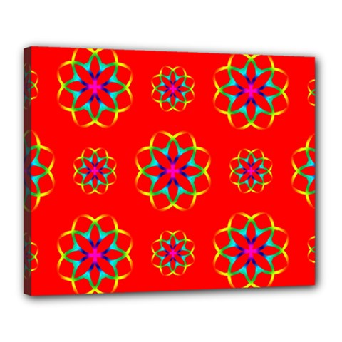 Rainbow Colors Geometric Circles Seamless Pattern On Red Background Canvas 20  x 16
