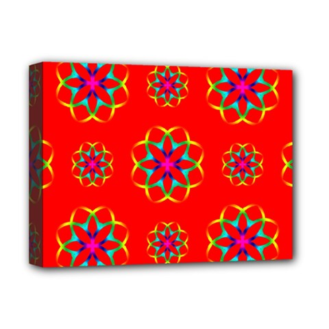 Rainbow Colors Geometric Circles Seamless Pattern On Red Background Deluxe Canvas 16  x 12