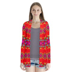Rainbow Colors Geometric Circles Seamless Pattern On Red Background Cardigans
