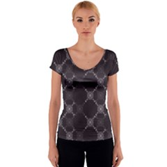 Abstract Seamless Pattern Background Women s V-Neck Cap Sleeve Top