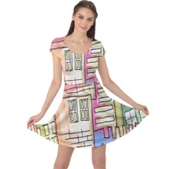 A Village Drawn In A Doodle Style Cap Sleeve Dresses