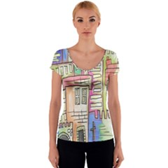 A Village Drawn In A Doodle Style Women s V-Neck Cap Sleeve Top